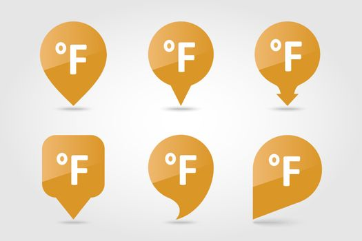 Degrees Fahrenheit outline pin map icon. Map pointer. Map markers. Meteorology. Weather. Vector illustration eps 10