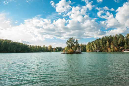 Summer landscape of lake with crystal and fresh water Aya, Altai mountains, Russia