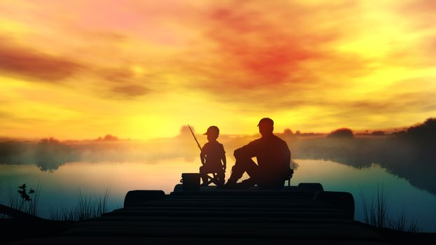 Father with son fishing in the river at dawn
