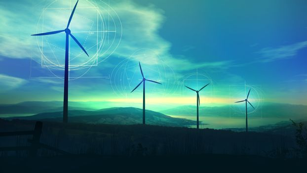 Wind power plants in twilight and infographics around them