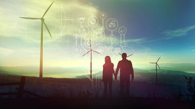 A couple of tourists and ecological infographics on a background of wind turbines