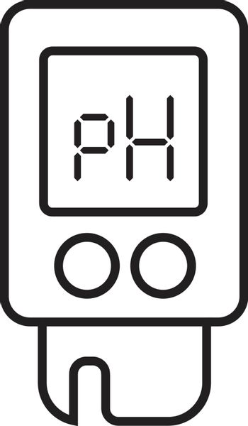 Acidity meter pH. The chemical tester. Icon of thin lines on a white background. Vector illustration