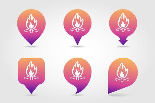 Bonfire pin map icon. Summer. Vacation