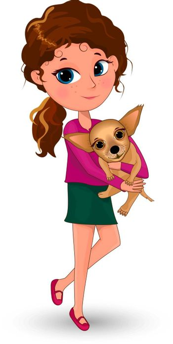 The girl is holding the dog on her hands. A girl is hugging a dog.