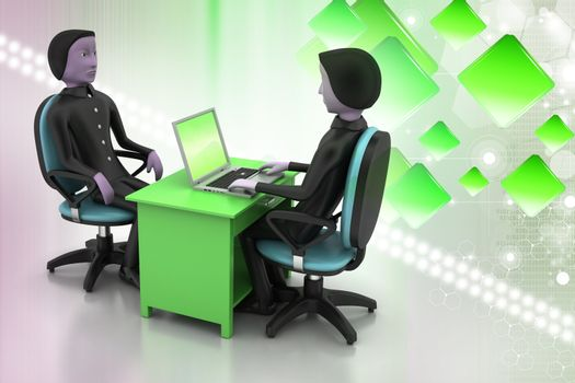 Employer and applicant, job hiring concept