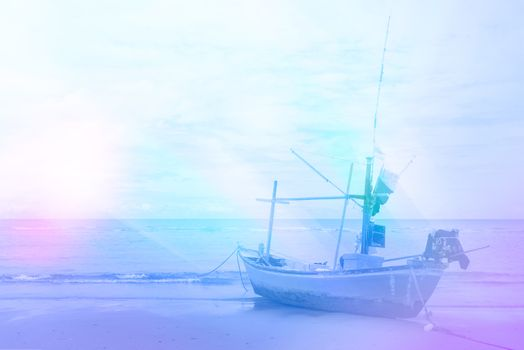 beach and fishing boat for background design concept