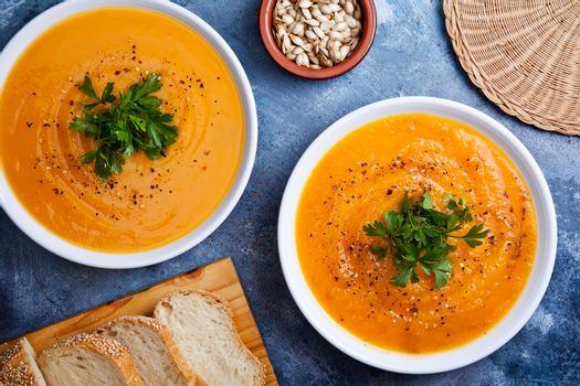 Bowls Of Spicy Organic Pumpkin Soup