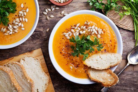 Spicy Homemade Organic Pumpkin Soup