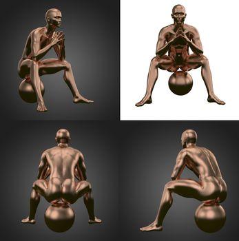 3d rendering illustration of copper human