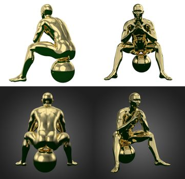 3d rendering illustration of gold human collection