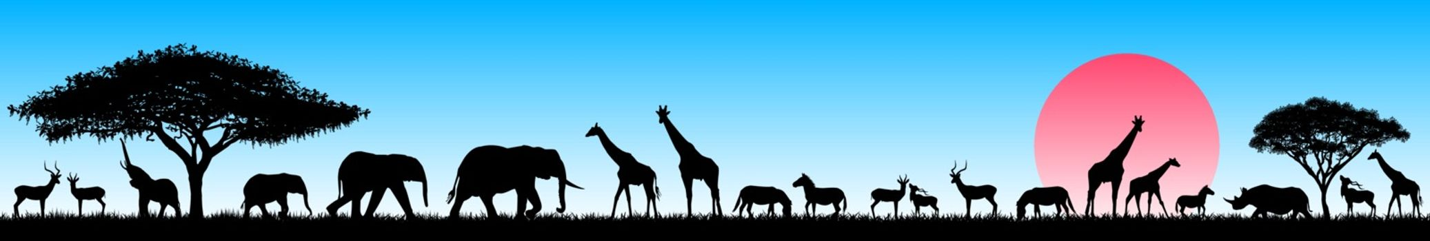 Silhouettes of wild animals of the African savannah. Set of different wild animals of Africa. African animals against the blue sky and the rising sun.
