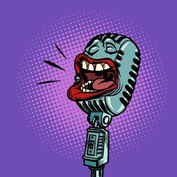 microphone radio concert podcast music show. Pop art retro vector illustration drawing
