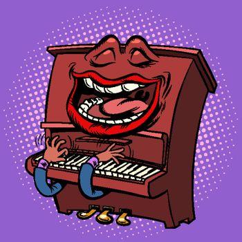 Emoji character emotion piano musical instrument