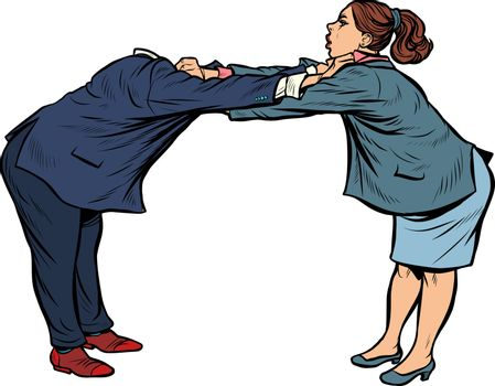 headless pattern man against woman. gender confrontation and enmity