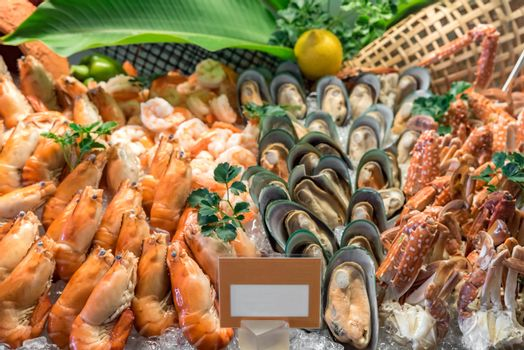 Fresh Seafood on ice in buffet line
