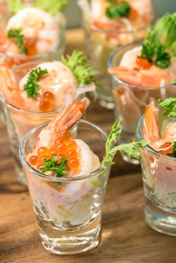 Shrimp Cocktail and egg in glass
