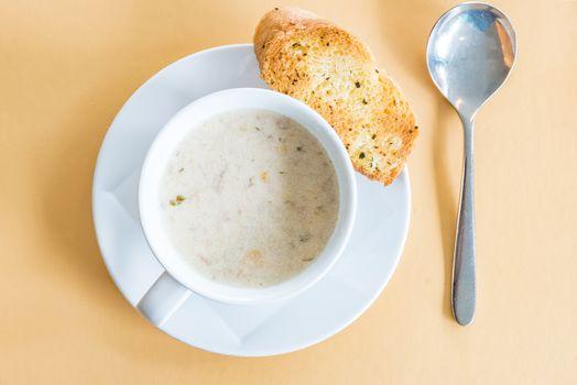 Corn Soup with garlic bread