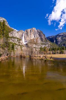Yosemite Valley national Park from swinging bridge yosemite in California San Francisco USA