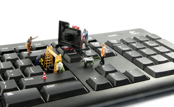 little figures try to hack the computer system