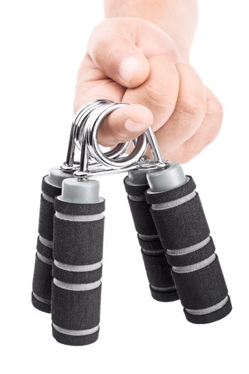 Close-up shot of male hand handing out hand grips, isolated on white background.
