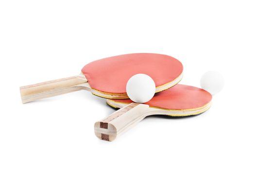 Ping Pong bats with balls