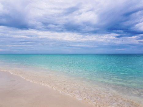 Calm beautiful beach with clear turquoise water. Beautiful Cuban beach in the Caribbean, at Cayo Santa Maria.