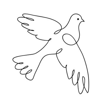 Dove. Continuous line art drawing. Pigeon. Vector logo illustration