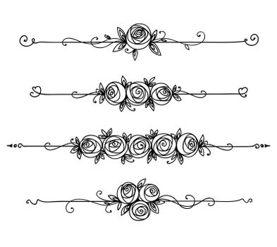 Floral elegant pattern black and white. Vintage element for decor line art. Rose flower outline.