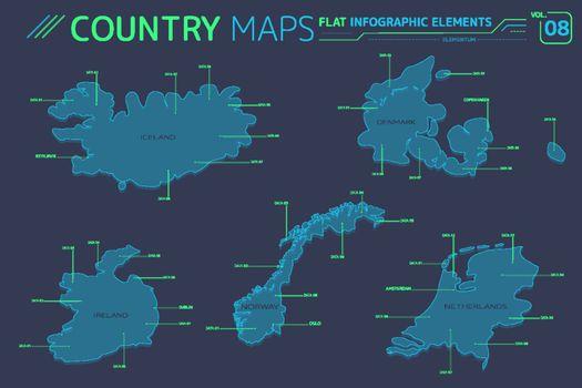 Iceland, Norway, Ireland, Netherlands and Denmark Vector Maps