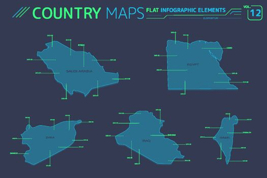 Syria, Israel, Egypt, Iraq and Saudi Arabia Vector Maps