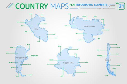 Peru, Venezuela, Colombia, Argentina and Chile Vector Maps