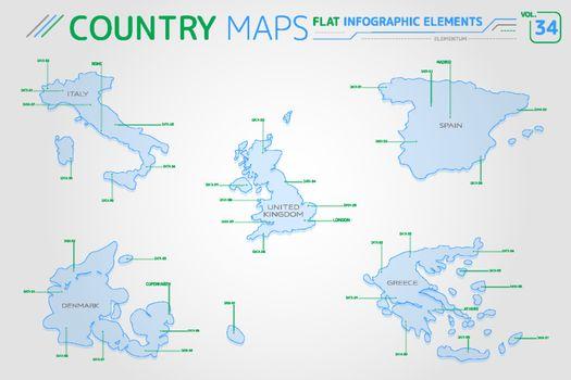 Italy, Greece, Spain, United Kingdom and Denmark Vector Maps