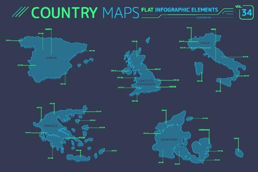 Greece, Italy, Spain, United Kingdom and Denmark Vector Maps