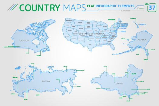 Canada, Russia, China and United States of America Vector Maps