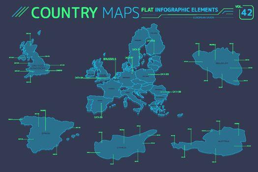 European Union, Austria, Belgium, Cyprus, Spain and United Kingdom Vector Maps