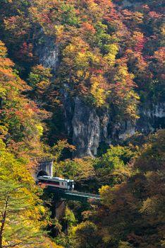 Naruko Gorge valley with train railroad tunnel in Miyagi Tohoku Japan