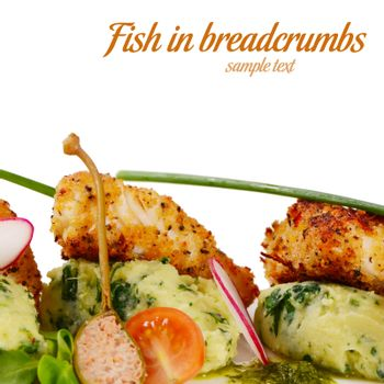 The fish in breadcrumbs with a mashed potatoes