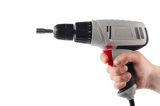 Screwdriver in a man's hand isolated on white
