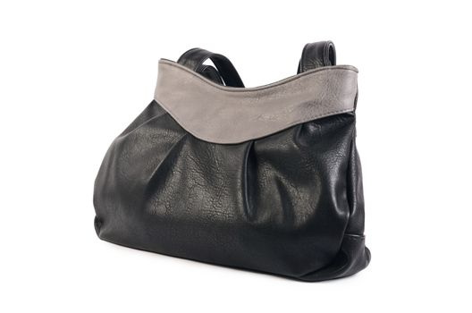 Women's black leather bag isolated