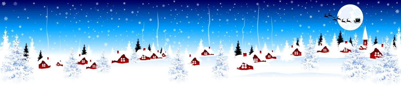 Little village on Christmas Eve on blue winter background. Snow-covered village. Night scene of winter rural landscape on Christmas Eve.