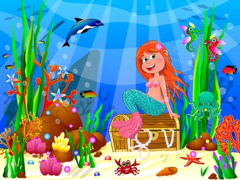 The little mermaid underwater among sea creatures and underwater plants. The little mermaid is sitting on a treasure chest.