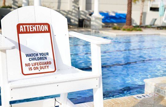 Safety Information Sign in the outdoors swimming pool