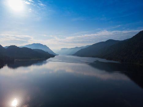 Aerial view on Teletskoye lake in Altai mountains