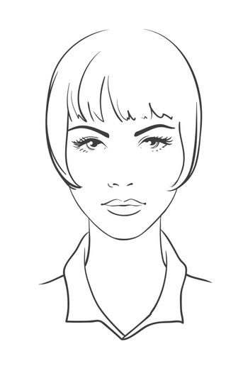 Woman portrait in face. Young attractive girl with a short haircut. Outline icon. Vector illustration