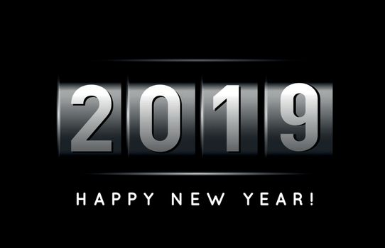 New Year counter 2019. VectoriIllustration on black background