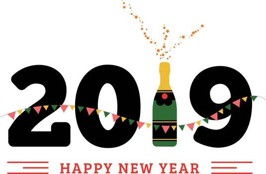 Congratulations to the happy new 2019 year with a bottle of champagne, flags. Vector flat illustration