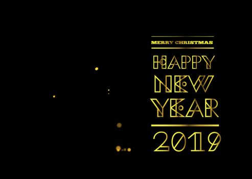 Golden geometric christmas tree from lights in spiral ribbon form. Vector illustration. Congratulations with Happy new year 2019