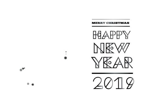 Geometric christmas tree from lights in spiral ribbon form. Vector illustration. Congratulations with Happy new year 2019
