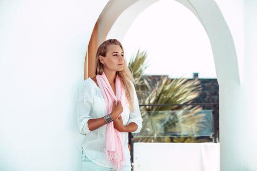 Beautiful woman on the resort