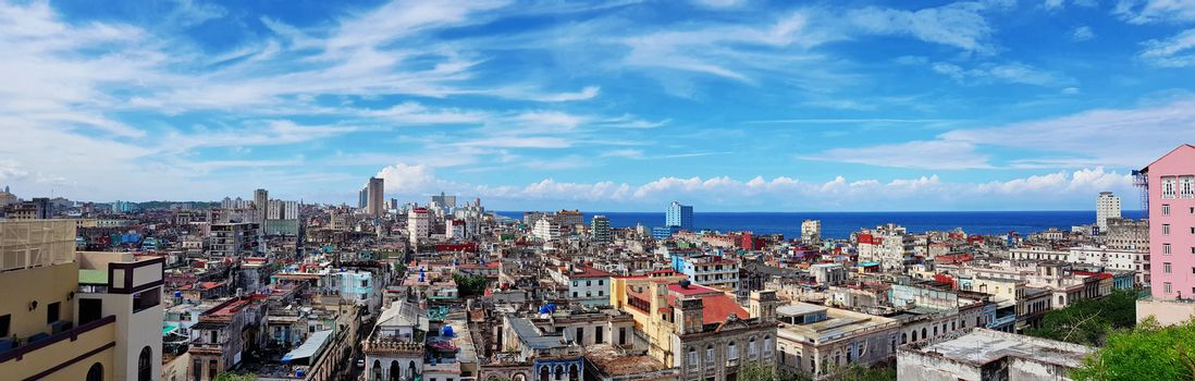 Beautiful panoramic view of Havana, Cuba, with clear blue sky.